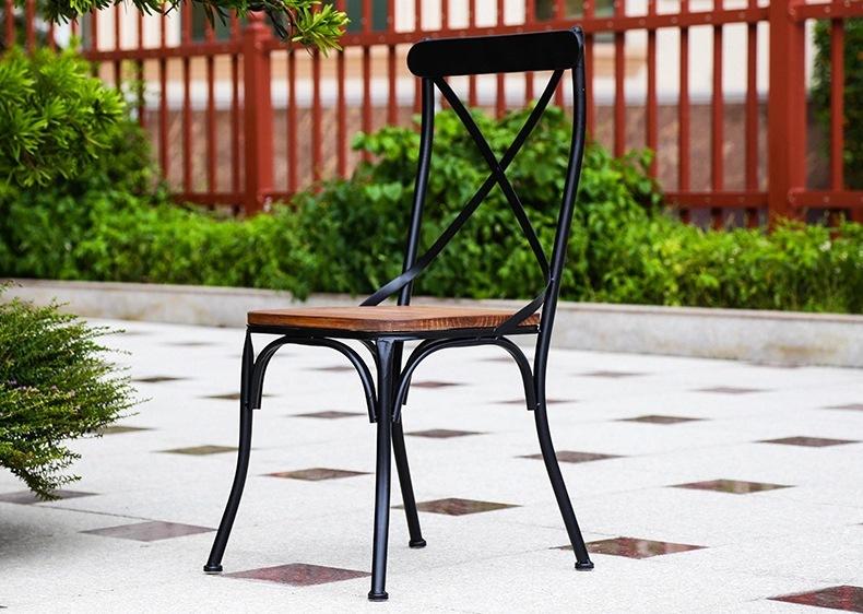 欧式家用铁艺靠背酒店餐厅实木餐椅咖啡厅