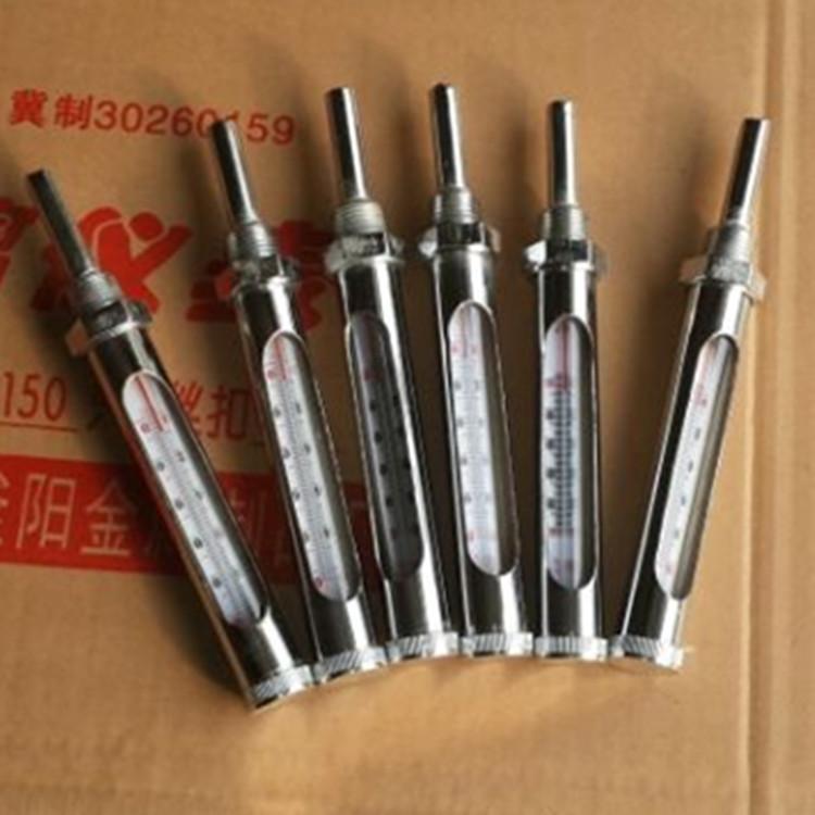 大量供应热套式双金属套玻璃温度计 金属套温度计直行直角