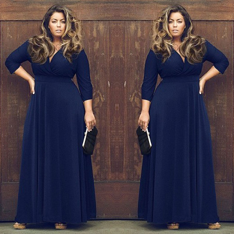 3 4 Sleeve Sexy V Neck Women Long Dress Plus Size XXL XXXL 3XL ... ae7e6dffdb3c