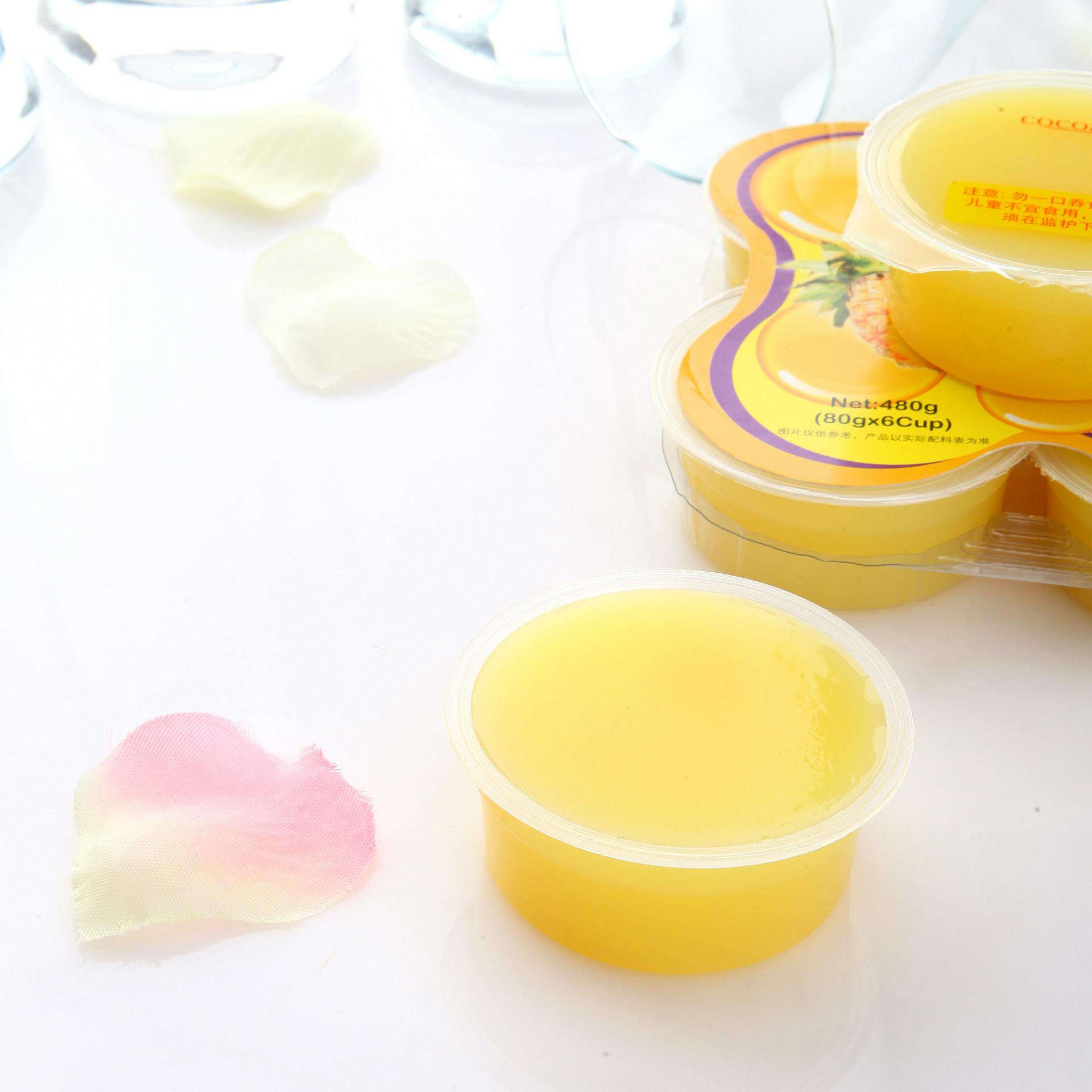 马卡兰菠萝味果冻(含椰果)六杯装厂家直供直销 马卡兰品牌休闲食品果冻、果冻批发