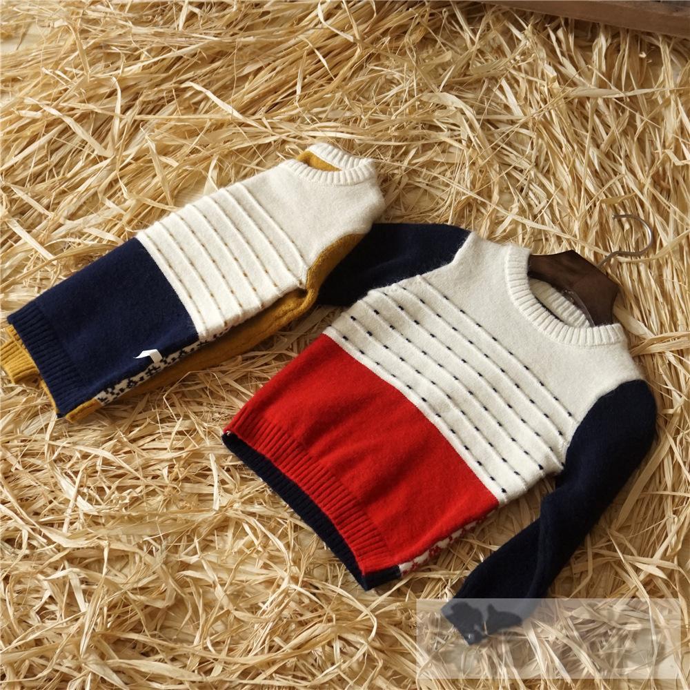 15秋款童装 韩版新款 男女儿童圆领套头毛衫 拼色长袖针织