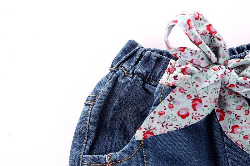 2015春款外贸原单潮范童装女童儿童腰带水洗磨白牛仔长裤批发代理