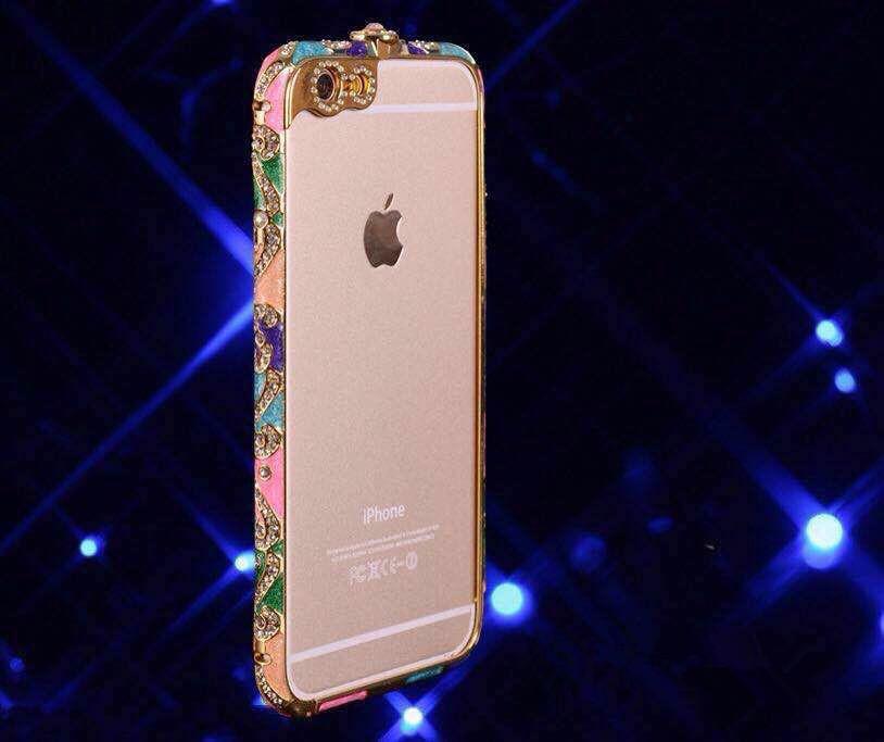 金属边框_新款iphone6手机壳水钻苹果66plus民族风
