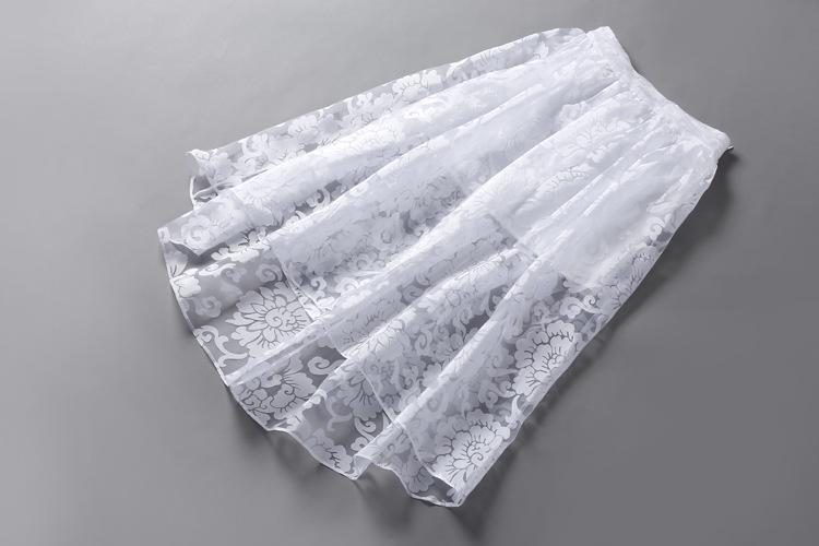 TOO TANG 2015新款印花网纱长裙 欧根纱不规则大摆裙 白色中长裙