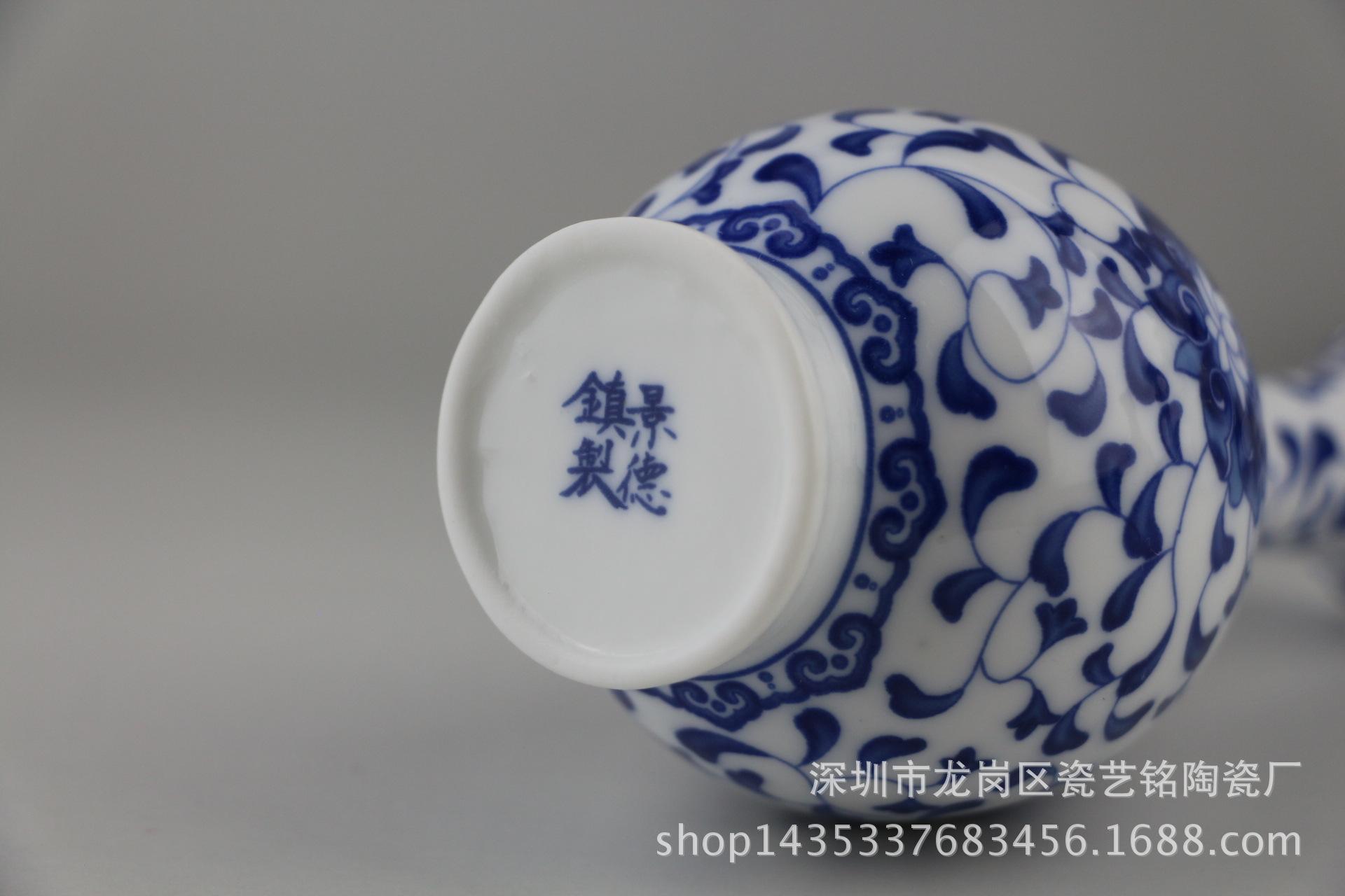 摆件 景德镇 青花瓷 迷你小花瓶花器多肉花盆创意水培家居简约 阿里