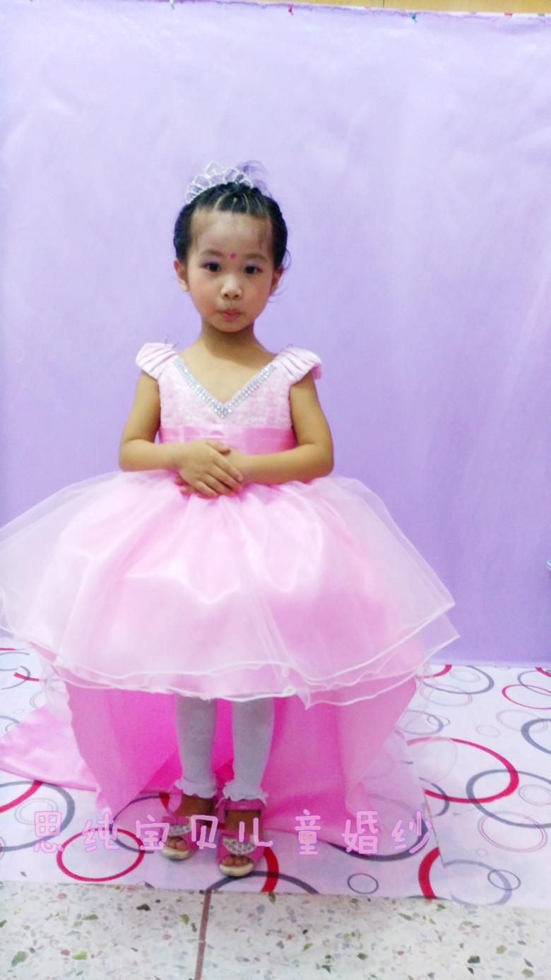 儿童礼服裙女童公主裙拖尾花童礼服女童