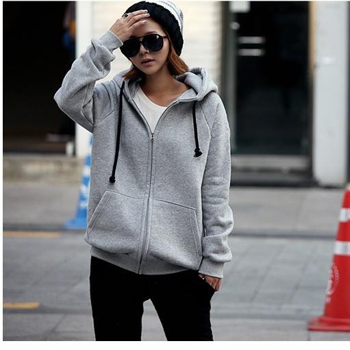 【买二送一】2014开衫外套韩版秋装拉链连帽长袖女式卫衣5158